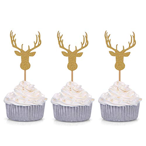 Giuffi Set of 24 Golden Antler Cupcake Toppers Theme Party Decors