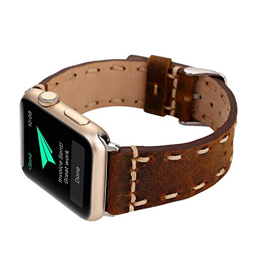 (Compatible Apple Watch Straps 42 mm (fit for 44mm), Luxury Genuine Leather Strip Fashion Classic Wrist Bands for Women and Men, Replacement for Apple Watch Series 4 3 2 1, 42/44mm Personality Rust)