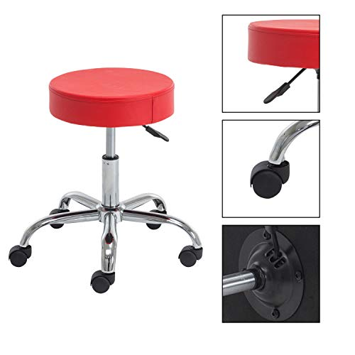 (Heyesk Rolling Stool with Wheels Swivel Garage Mechanics Shop Stools,Height Adjustable (red))