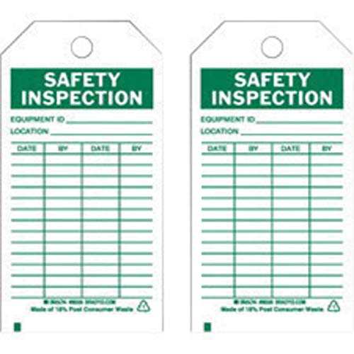 """Brady 5 3/4"""" X 3"""" Green Polyester Safety Inspection Control Tag""""SAFETY INSPECTION EQUIPMENT ID/LOCATION / DATE/BY"""""""