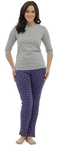 Mujer Estampado Estrellas Manga Larga De Algodón Conjunto Pijama / Ropa cómoda ~ GB 8 - 18 Gris Top