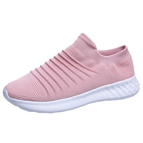 Rmeioel Women's Flying Weaving Breathable Socks Sneakers Casual Solid Soft Lightweight Student Running Shoes