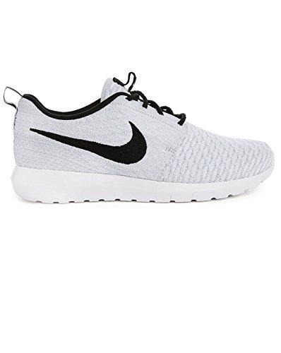 Nike Men's Flyknit Rosherun, WHITE/BLACK-WOLF GREY-PR PLTNM, 10.5 M US