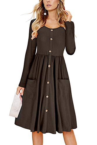 Befily Womens Long Sleeve Button Down Loose Swing Midi Dress with Pockets (Brown, Large)