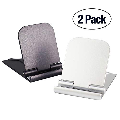 (Cell Phone Stand, 2Pack Cellphone Holder for Desk Lightweight Portable Foldable Tablet Stands Desktop Dock Cradle for iPhone Android Smartphone iPad Office Supplies Pop Accessories Gray Silver)