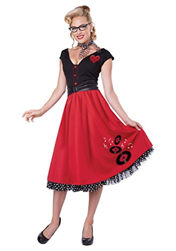 California Costumes Women's Rock N Roll Sweetheart 50's Pin Up Costume, Red/Black, -