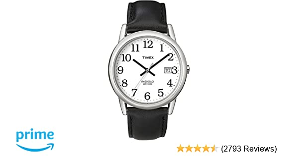 6cb029299 Amazon.com: Timex Men's T2H281 Easy Reader Black Leather Strap Watch: Timex:  Watches