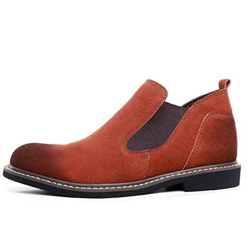 Heart&M casual y zapatos de cuero de ante de terciopelo frente puntiagudo de la alta corte varonil deep brown