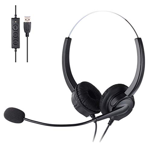 Vaorwne Mute Function Call Center USB Headset Noise Cancelling USB Call Center Headphone with Microphone for Skype…