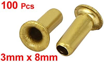 uxcell リベットナット 3x8mm 金属 スルーホール PCB回路基板 中空銅リベット グロメット 100個入り