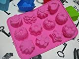 Kitty-Party 12 Cavity Flowers Silicone gel non-stick Cake bread Mold Chocolate jelly Candy Baking roasting mould +Free Cable Tie