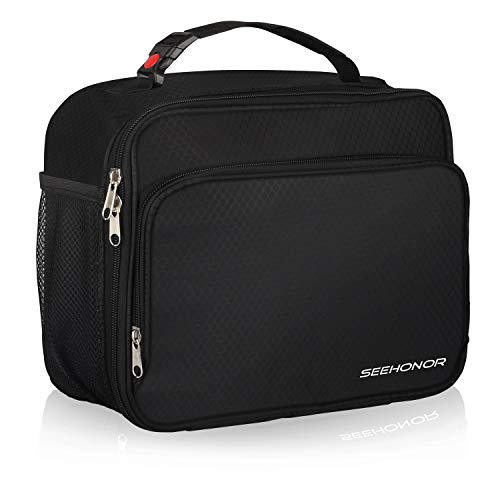 SEEHONOR Insulated Lunch Box Thermal Durable Reusable Lunch Bag Lunch Tote Bag Bento Bag Soft Bag for Women Men Adults Office Work School Picnic Hiking Beach,Black(L)