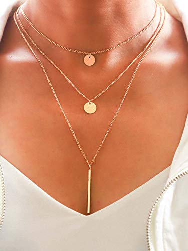 Yalice Layered Drop Bar Y Necklace Chain Sequins Choker Necklaces Jewelry for Women and Girls ()