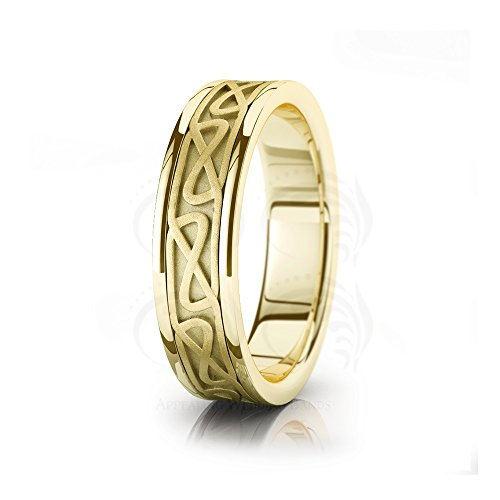 14k Yellow Gold Hourglass Chained Celtic Wedding Ring by Appealing Wedding Bands