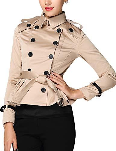 (Uaneo Women's Double Breasted Short Trench Coat Peplum Blazer Jacket (Small, Khaki))