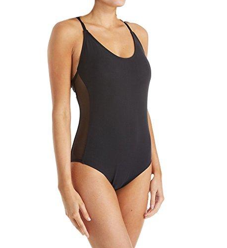 Jantzen Women's Mesh Solids Strappy Back One Piece Swimsuit, Black, 12