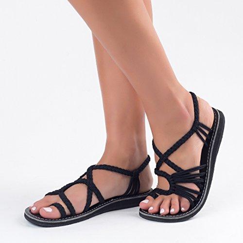 For Palm Women Sandals Flat Black Classic Leaf Plaka xS6wvn