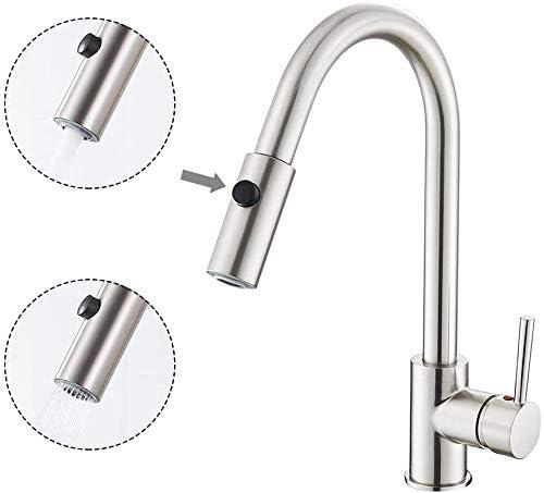 Dmqpp Single-Küchen-Misch Sink Taps mit Pull Out Spray 360 Grad;Schwenkertülle Tap Heiße und kalte Bleifrei-Wannen-Hahn mit dem britischen Standard-Fittings Stahl gebürstet wasserhhne küche