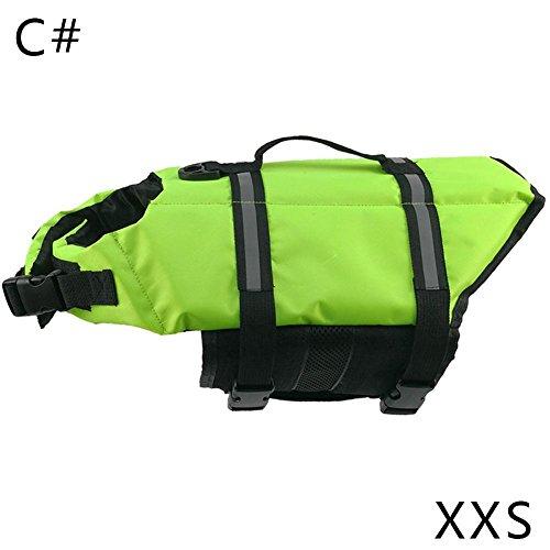 RoseSummer Dog Life Jacket Vest Swimsuit (Green, XXS)