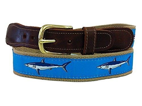 Men's Preston Leather Ribbon Light Blue & Mako Khaki Shark Belt (42) (Linen Silk Belt)