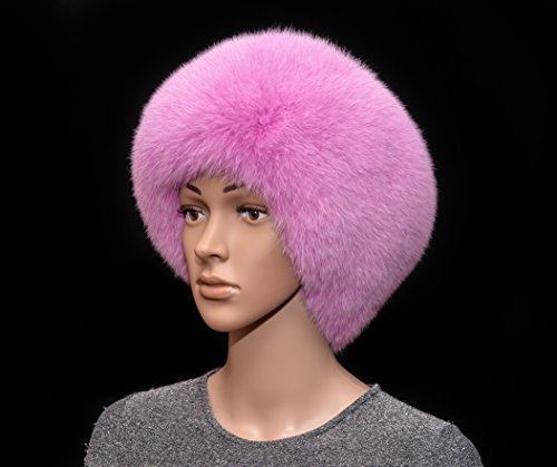 Saga Furs Flamingo Pink Shadow Fox Fur Handmade Beanie Beret Hat by Your Furrier
