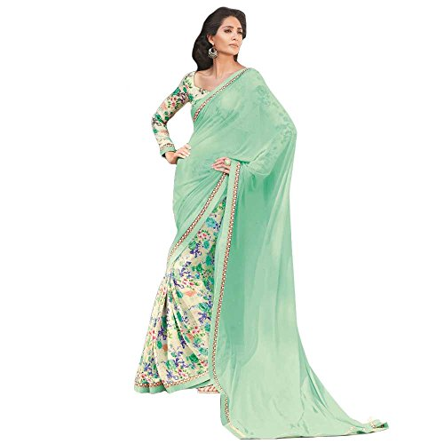 Shree-Designer-Sarees-Womens-Beautiful-Sea-Green-Georgette-Designer-Saree