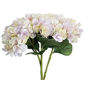 AntranStore 3Pcs Artificial Flowers Silk Hydrangea Flowers Hydrangea Simulation Flowers Floral Bouquet for Wedding, Room, Home, Hotel, Party Decoration (Light Purple) 90