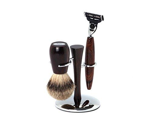 Hans Baier - Shaving Set Razor, Shaving Brush Silvertip, Holder Wood/Chrome ()