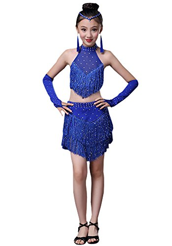 BOZEVON Girls Latin Ballroom Dance Dress Sequin Tassel Skirt Tango Dance