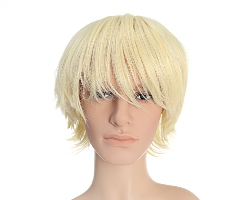 Costumes With Colored Wigs (OneDor 12 Inch Short Straight Men Hair Wig Colored Cosplay Wig Heat Friendly Party Costume Unisex Wig (613#-Pre Bleach Blonde))