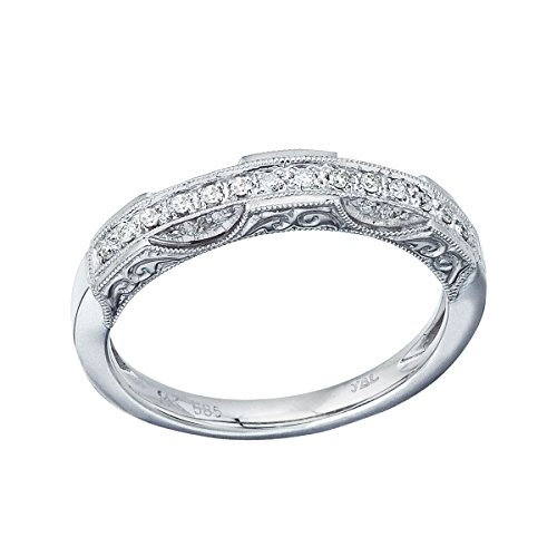 - 0.12 Carat ctw 14k Gold Round White Diamond Channel Set Filigree Design Wedding Ring Anniversary Band - White-gold, Size 7