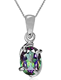 Natural Gemstone 925 Sterling Silver Solitaire Pendant w/ 18 Inch Chain Necklace