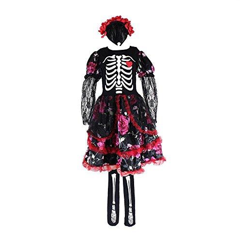 Girls Skeleton Costume Kids Halloween Zombie Bride Fancy Dress Cosplay-Bride(10-12 (Zombie Outfits For Halloween)