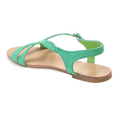 Simili Vert Daim de Plates Sandales dotées en Brides La Modeuse wqag4WBp