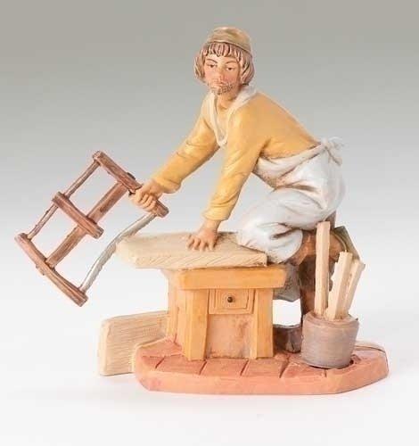 Fontanini Amos the Carpenter with Saw Italian Nativity Villager Figurine