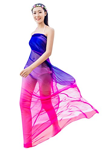 GERINLY Sarong Wrap Dress - Ombre Chiffon Hawaiian Beach Cover Ups (Rose+Blue) Ombre Silk Chiffon Dress