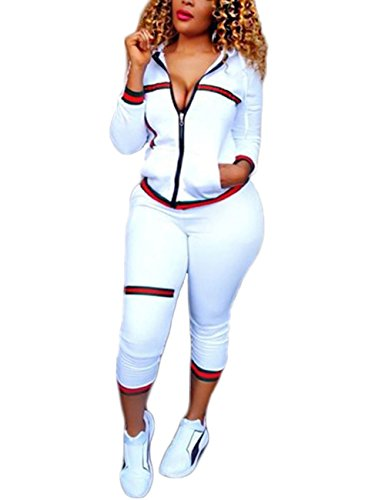 Fashion Casual Long Sleeve Zipper Jacket and Long Pants 2 Piece Set Tracksuits White XL