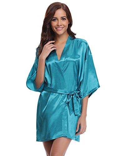 Women's Kimono Robes Satin Pure Colour Short Style With Oblique V-Neck Robe