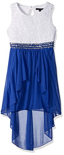 My Michelle Girls' Big High Low Soutache Dress with Jewels, Cobalt, 14
