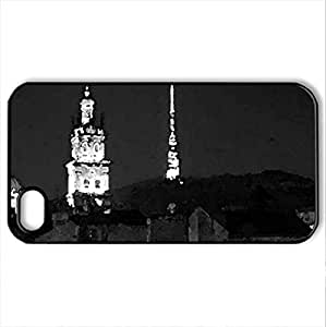 L'viv at night - Case Cover for iPhone 4 and 4s (Watercolor style, Black)