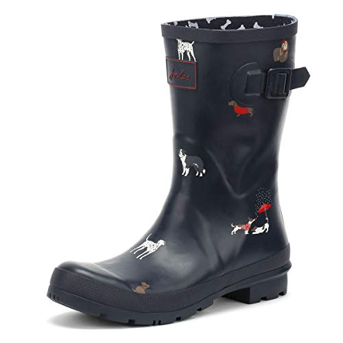 Joules Women's Mid Molly Welly Navy Dogs 5 B US