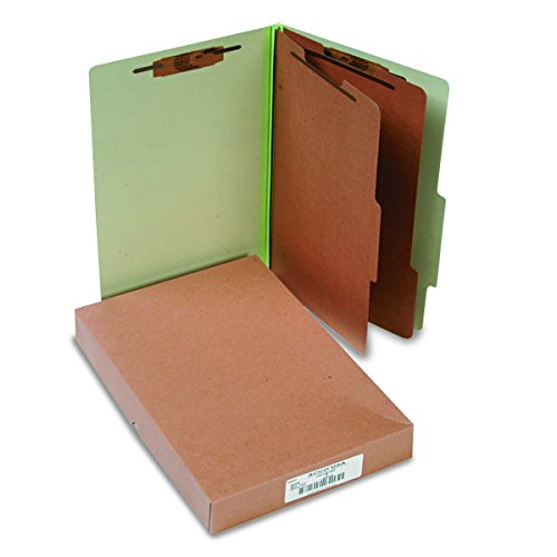 ACCO 16046 ACCO Pressboard 25-Point Classification Folders, Lgl, 6-Section, Leaf GN, -
