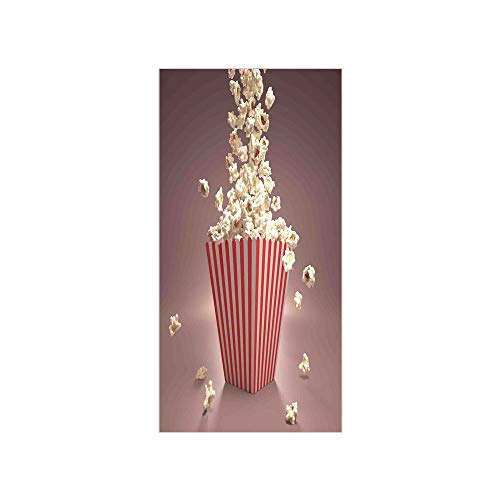 (Decorative Privacy Window Film/Retro Style Popcorn Art Image Home Cafe Design Kitchenware Cardboard Vintage Cinema/No-Glue Self Static Cling for Home Bedroom Bathroom Kitchen Office Decor Light Red Wh)