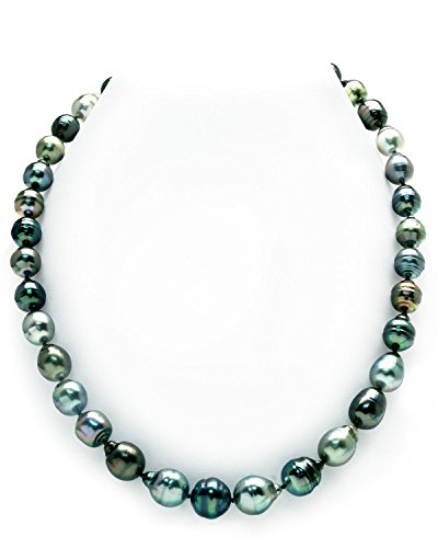THE PEARL SOURCE 14K Gold 9-11mm Baroque Genuine Multicolor Tahitian South Sea Cultured Pearl Necklace in 20