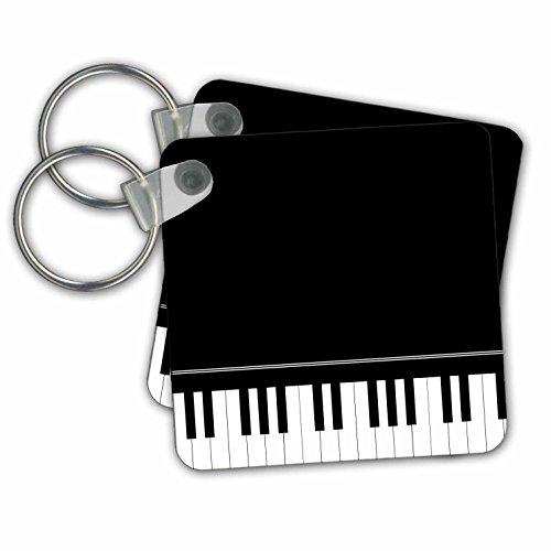 3dRose Black piano edge - baby grand keyboard music design for pianist musical player and musician gifts - Key Chains, 2.25 x 2.25 inches, set of 2 (kc_112947_1)