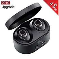 Bluetooth Headphone, XIAOWU Wireless Earbuds Dual Stereo Headset Noise Cancelling Sports Headphones with Portable Charging Station and Mic for Samsung iPhone 7 Plus Sony Apple iPad Android iOS