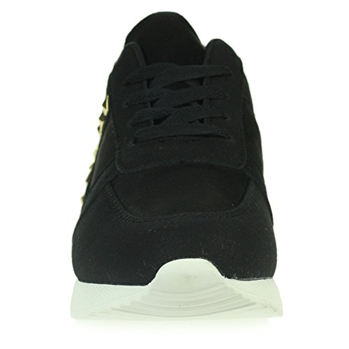 Memory Comfort Trainers Shoes Lace Casual Size Womens Dressy Walking Black Foam Gym Ladies Lightweight up w0xCxXHq