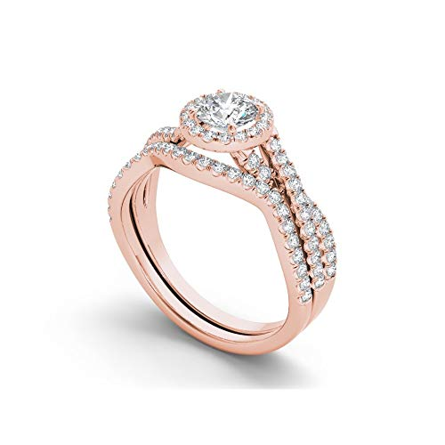 Elinajewels 14k Rose Gold Finish 925 Sterling Silver Twist Shank Engagement Ring Set 1.25 cttw Simulated Diamond VVS1 Clarity AAA Grade