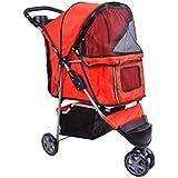PawHut Buggy für Hunde Katzen Pet Stroller 3 Räder inklusiv Becherhalter, rot