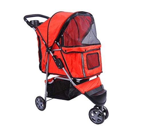 PawHut 5663-0015RD Buggy für Hunde Katzen Pet Stroller 3 Räder inklusiv Becherhalter, rot